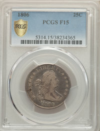 1806 25C Fine 15 PCGS Secure. PCGS Population: (78/356 and 0/3+). NGC Census: (24/191 and 0/1+). Fine 15. Mintage 206,12...