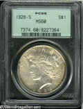 """Peace Dollars: , 1928-S S$1 MS60 PCGS. The current Coin Dealer Newsletter(Greysheet) wholesale """"bid"""" price is $105.00...."""