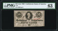 Confederate Notes:1863 Issues, T63 50 Cents 1863 PF-2 Cr. UNL PMG Choice Uncirculated 63.. ...