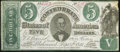 Confederate Notes:1861 Issues, CT33/250F Counterfeit $5 1861 Fine.. ...