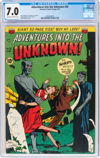 Adventures Into The Unknown #20 (ACG, 1951) CGC FN/VF 7.0 Off-white to white pages