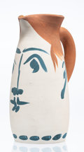 Fine Art - Sculpture, European:Contemporary (1950 to present), Pablo Picasso (1881-1973). Chope Visage, 1959. Terre de faïence pitcher, painted in colors and glazed. 9 x 4-1/4 x 6 inc...