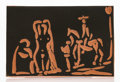 Fine Art - Sculpture, European:Contemporary (1950 to present), Pablo Picasso (1881-1973). Personnages et cavalier, 1968. Terracotta plaque with black engobe. 4-1/8 x 6-3/8 inches (10....