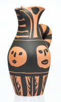 Fine Art - Sculpture, European:Contemporary (1950 to present), Pablo Picasso (1881-1973). Yan soleil, 1963. Terracotta pitcher, partially engraved, with black engobe. 10 x 6-1/2 x 5-1...