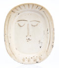 Fine Art - Sculpture, European:Contemporary (1950 to present), Pablo Picasso (1881-1973). Visage de femme, 1955. White earthenware ceramic plate, partially engraved, with white glaze ...