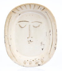 Pablo Picasso (1881-1973) Visage de femme, 1955 White earthenware ceramic plate, partially engraved