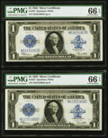 Large Size:Silver Certificates, Two Consecutive Fr. 237 $1 1923 Silver Certificates PMG Gem Uncirculated 66 EPQ.. ... (Total: 2 notes)