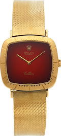 Timepieces:Wristwatch, Rolex, Cellissima Ref. 4084 Red Vignette, 18k Yellow Gold, Circa 1970's. ...