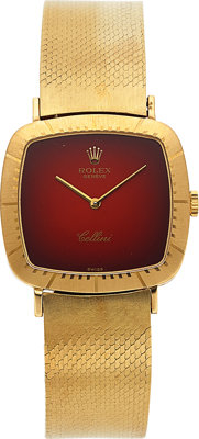 Rolex, Cellissima Ref. 4084 Red Vignette, 18k Yellow Gold, Circa 1970's