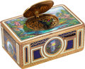 Timepieces:Musical - Mechanical , German, Exceptional Gilt And Enamel Singing Bird Box, Circa Late 1800's. ...