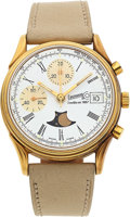 Timepieces:Wristwatch, Eberhard & Co. Limited Edition 75th Anniversary Chronograph With Date, Moon Phase, No. 234/499. ...