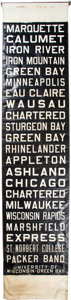 """Football Collectibles:Others, 1967 Green Bay Bus Destination Sign Used During the Ice Bowl (With """"Packer Band"""")...."""