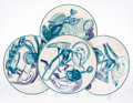 Fine Art - Sculpture, American:Contemporary (1950 to present), Frank Stella (b. 1936). Vortex Engravings, set of 12, 2001. Glazed bone china plates. 12 inches (30.5 cm) diameter (each... (Total: 12 Items)