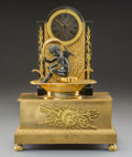 Clocks & Mechanical, A German Gilt and Patinated Bronze Figural Clock, 19th century. 17-1/4 x 12-1/4 x 5 inches (43.8 x 31.1 x 12.7 cm). ...