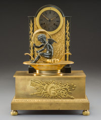 A German Gilt and Patinated Bronze Figural Clock, 19th century 17-1/4 x 12-1/4 x 5 inches (43.8 x 31.1 x 12.7 cm)&lt...