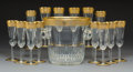 Glass, A Fifteen-Piece St. Louis Thistle Pattern Glassware Champagne Set, France, designed 1908. Marks: CRISTAL, ST. ... (Total: 15 Items)