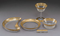 A Sixty-Piece St. Louis Thistle Pattern Glassware Table Service for Twelve, France