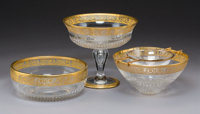 Three St. Louis ThistlePattern Glass Table Articles, France, designed 1908 Marks: