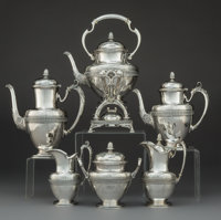 A Six-Piece Tiffany & Co. Italian Pattern Silver Tea and Coffee Service, New York, c