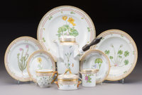 A Twenty-Seven-Piece Royal Copenhagen Flora Danica Pattern Porcelain Table Service for Four<