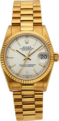 Timepieces:Wristwatch, Rolex, Mid-Size Oyster Perpetual Datejust, 18k Gold, Ref. 78278, Circa 1999. ...