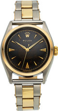 Timepieces:Wristwatch, Rolex, Ref. 6084 Oyster Perpetual, Steel and Gold, Black Radium Dial, Circa 1953. ...