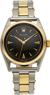 Rolex, Ref. 6084 Oyster Perpetual, Steel and Gold, Black Radium Dial, Circa 1953