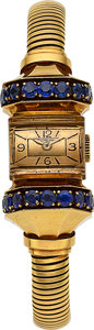 Timepieces:Wristwatch, Patek Philippe & Co., Fine and Rare Ref. 1371, 18k Gold & Sapphire, Manual Wind, Circa 1940's. ...