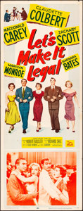 """Movie Posters:Comedy, Let's Make It Legal (20th Century Fox, 1951). Folded, Very Fine-. Insert (14"""" X 36""""). Comedy.. ..."""
