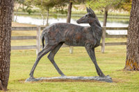 Kenneth Rodney Bunn (American, b. 1938) Whitetail Doe Looking Back, 1991 Bronze with verdegris patin