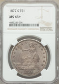 1877-S T$1 MS63+ NGC. NGC Census: (141/158 and 5/4+). PCGS Population: (223/220 and 8/20+). MS63. Mintage 9,519,000