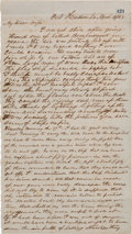 Autographs:Military Figures, Private Andre H. Beauchamp Autograph Letter Signed With Battle of Port Hudson Content....
