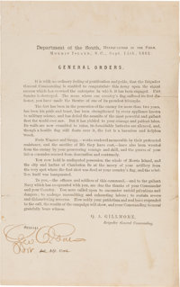 [Fort Sumter]. Quincy A. Gillmore Printed General Orders, September 15, 1863