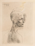 Fine Art - Work on Paper:Print, Pablo Picasso (1881-1973). Buste d'homme, from La suite des Saltimbanques, 1905. Drypoint on Van Gelder Zonen wove p...