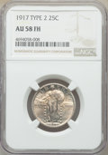 Standing Liberty Quarters, 1917 25C Type Two AU58 Full Head NGC. NGC Census: (97/813). PCGS Population: (161/1222). Mintage 13,880,000. ...