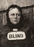 Photographs:Photogravure, Paul Strand (American, 1890-1976). Blind Woman, New York, 1916. Photogravure, printed later. 8-1/2 x 6-1/2 inches (21.6 ...