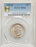 Washington Quarters, 1932-D 25C MS62 PCGS Secure. PCGS Population: (575/1531 and 0/41+). NGC Census: (399/492 and 1/9+). CDN: $950 Whsle. Bid fo...
