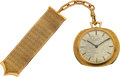 "Timepieces:Pocket (post 1900), Patek Philippe Geneve, Fine Ref. 798, ""Ricochet"", 18k Gold Pocket Watch With Gübelin Chain, Fob, Receipt & Box, Circa 1963"