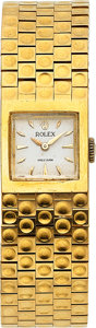Timepieces:Wristwatch, Rolex, Unusual Lady's Bracelet Watch, 18k Yellow Gold, Manual Wind, Circa 1950's. ...