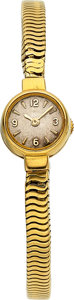 Timepieces:Wristwatch, LeCoultre, Lady's 18k Gold Back Wind Bracelet Watch. ...