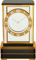 Timepieces:Clocks, Cartier, Mystery Clock, Gilt and Black Lacquer, Circa 1990's. ...