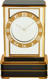 Cartier, Mystery Clock, Gilt and Black Lacquer, Circa 1990's