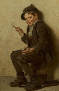 John George Brown (American, 1831-1913) The Young Artist, circa 1885 Oil on canvas 24 x 16 inches
