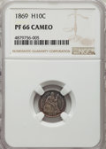 Proof Seated Half Dimes: , 1869 H10C PR66 Cameo NGC. NGC Census: (7/7). PCGS Population: (4/2). PR66. ...