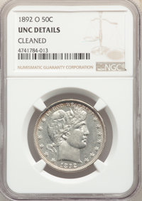 1892-O 50C -- Cleaned -- NGC Details. Unc. NGC Census: (2/143). PCGS Population: (1/147). CDN: $825 Whsle. Bid for probl...