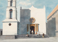 Michael Frary (American, 1918-2005) Cathedral of Our Lady Guadalupe Watercolor on paper 28 x 36 i