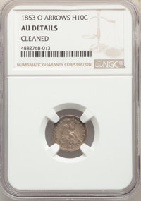 1853-O H10C Arrows -- Cleaned -- NGC Details. AU. NGC Census: (5/78). PCGS Population: (9/91). CDN: $130 Whsle. Bid for...