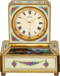 Angelus, Gilt & Enamel Boudoir Clock With Musical Alarm, Circa 1930's