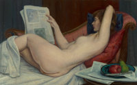 Leon Kroll (American, 1884-1974) Nude Reading Newspaper, 1958-1960 Oil on canvas 26 x 42 inches (