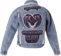 Music Memorabilia:Costumes, Stevie Nicks Hand-Made 1983 Tour Jacket. A denim jacket embellished with pink lace trim and appliques cut from a vintage 198...